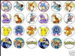 24 x MIXED POKEMON Cake Top Toppers -1.6'' perfect size